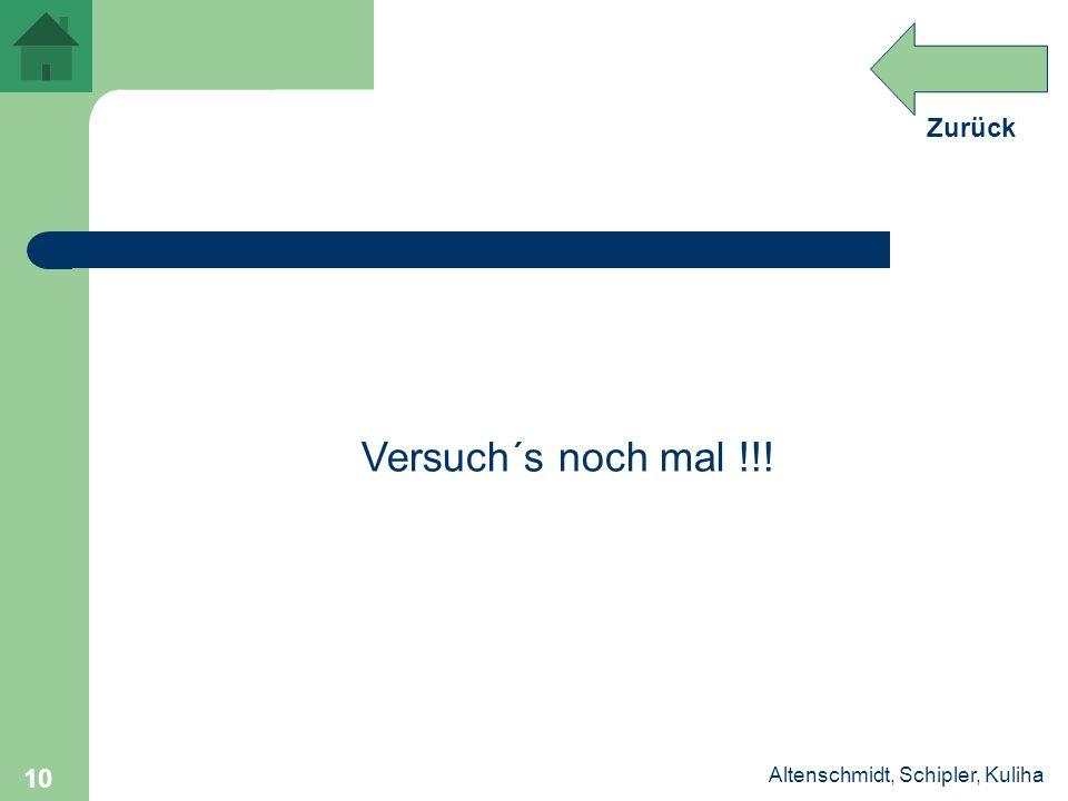 Zurück Altenschmidt, Schipler, Kuliha 10 Versuch´s noch mal !!!