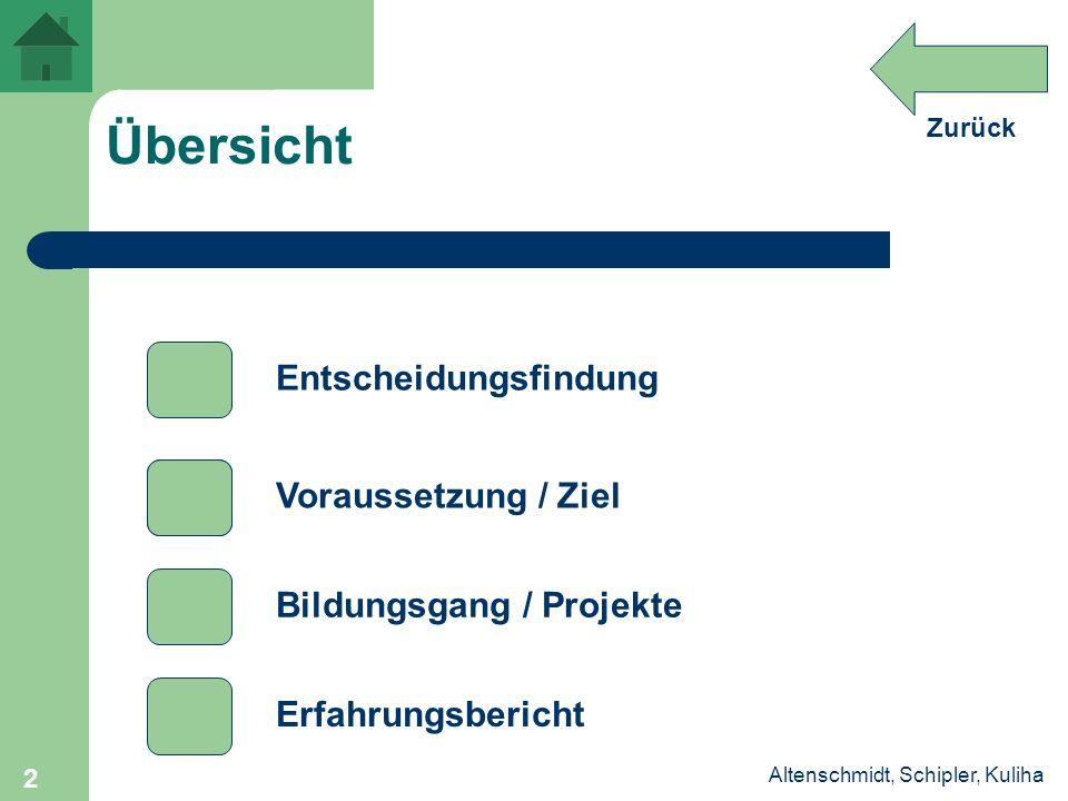 Zurück Altenschmidt, Schipler, Kuliha 2 Übersicht Entscheidungsfindung Voraussetzung / Ziel Bildungsgang / Projekte Erfahrungsbericht