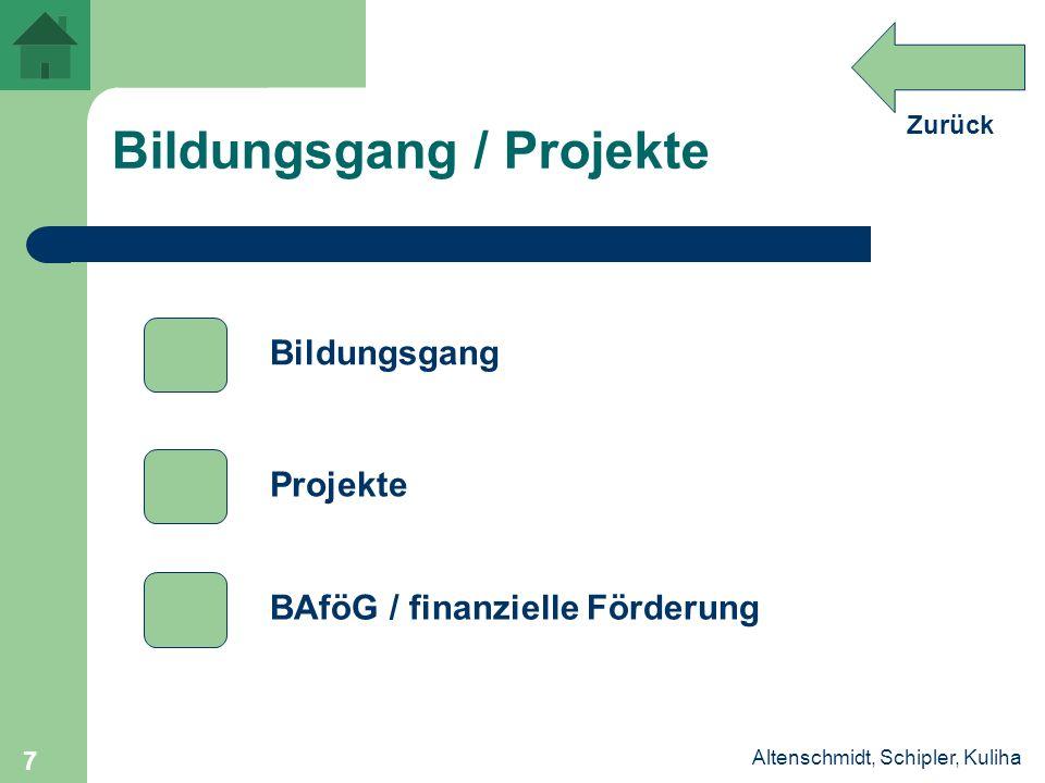 Zurück Altenschmidt, Schipler, Kuliha 7 Bildungsgang / Projekte Projekte Bildungsgang BAföG / finanzielle Förderung