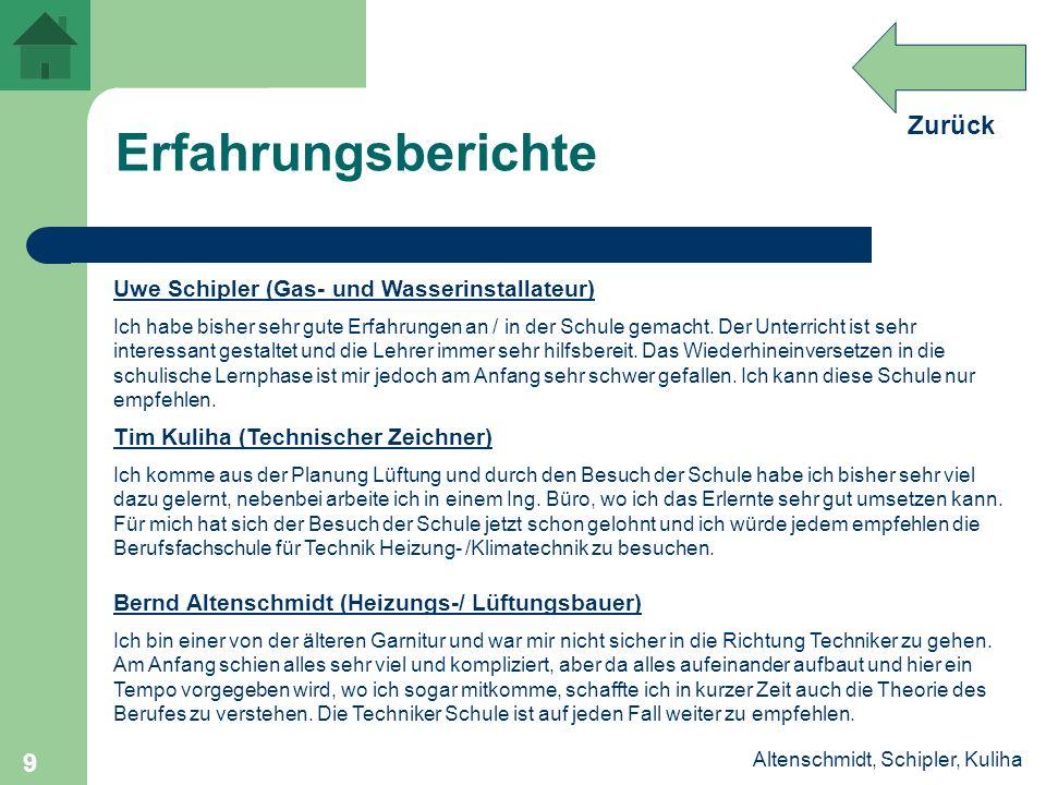 Zurück Altenschmidt, Schipler, Kuliha 9 Erfahrungsberichte Uwe Schipler (Gas- und Wasserinstallateur) Ich habe bisher sehr gute Erfahrungen an / in de