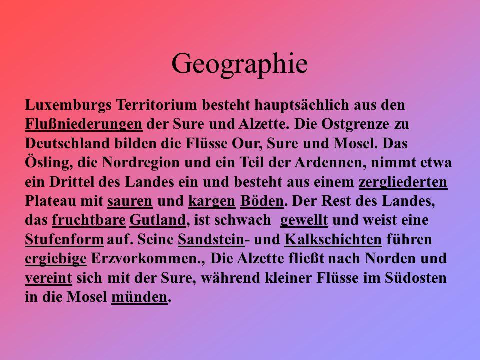 Geographie Luxemburgs Territorium besteht hauptsächlich aus den Flußniederungen der Sure und Alzette.