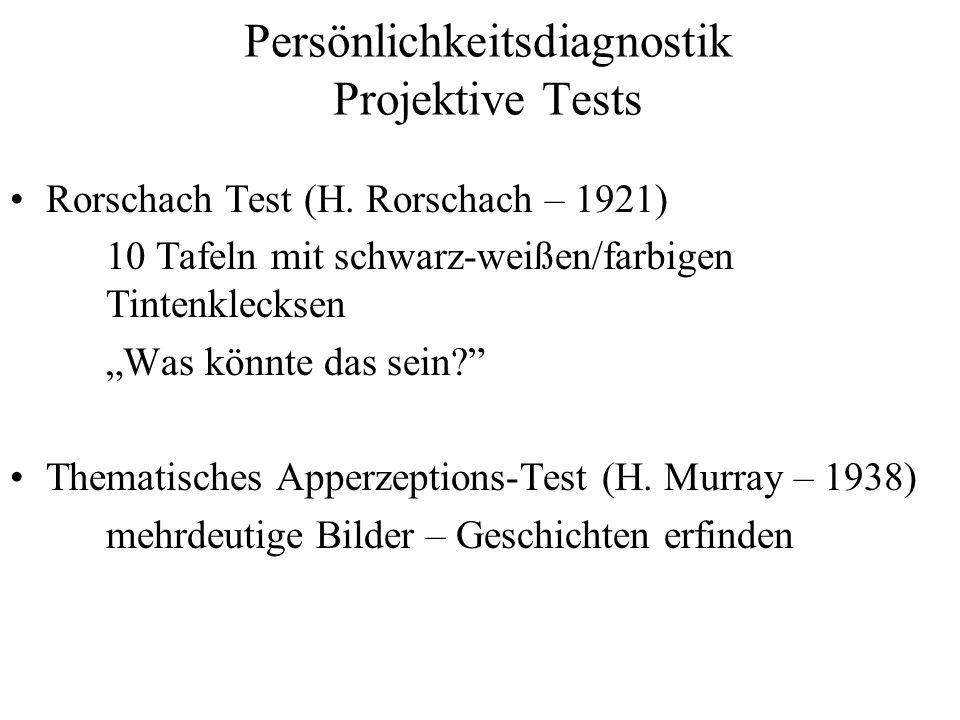 Persönlichkeitsdiagnostik Projektive Tests Rorschach Test (H. Rorschach – 1921) 10 Tafeln mit schwarz-weißen/farbigen Tintenklecksen Was könnte das se