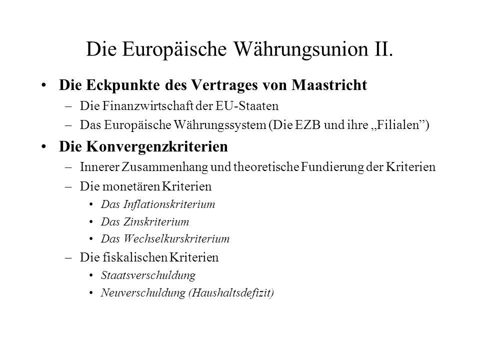Die Europäische Währungsunion II. Die Eckpunkte des Vertrages von Maastricht –Die Finanzwirtschaft der EU-Staaten –Das Europäische Währungssystem (Die