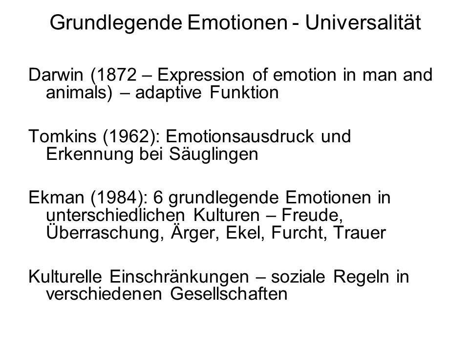 Grundlegende Emotionen - Universalität Darwin (1872 – Expression of emotion in man and animals) – adaptive Funktion Tomkins (1962): Emotionsausdruck u