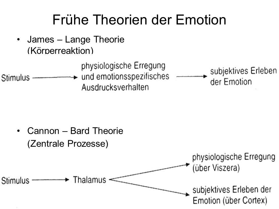 Frühe Theorien der Emotion James – Lange Theorie (Körperreaktion) Cannon – Bard Theorie (Zentrale Prozesse)