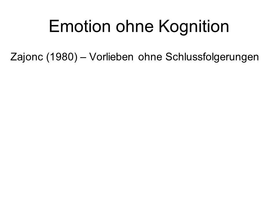 Emotion ohne Kognition Zajonc (1980) – Vorlieben ohne Schlussfolgerungen