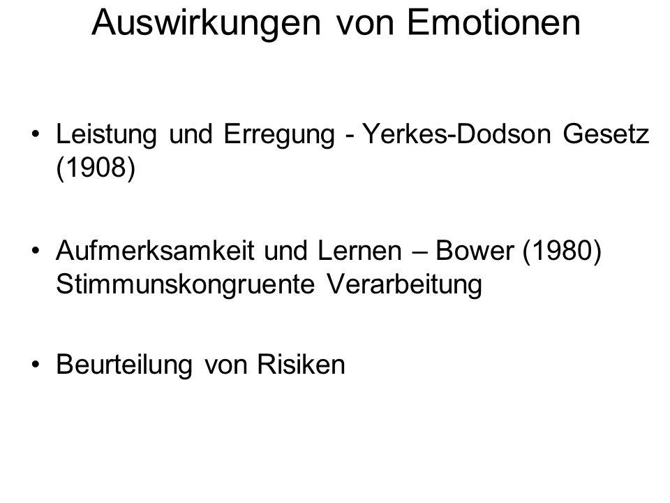 Auswirkungen von Emotionen Leistung und Erregung - Yerkes-Dodson Gesetz (1908) Aufmerksamkeit und Lernen – Bower (1980) Stimmunskongruente Verarbeitun