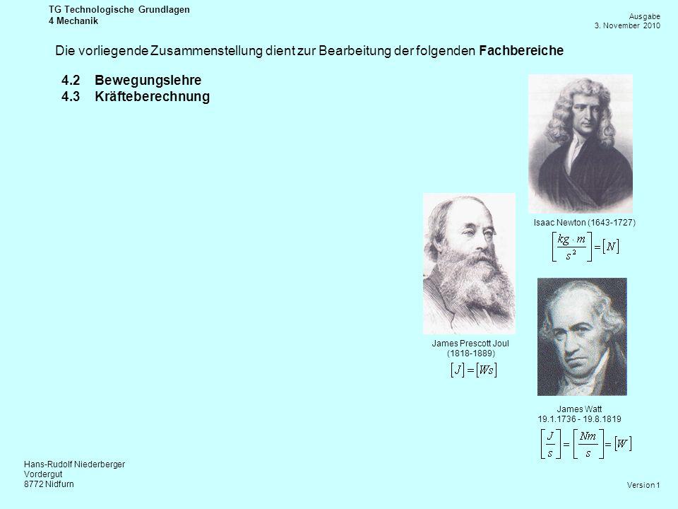 Hans-Rudolf Niederberger Vordergut 8772 Nidfurn Ausgabe 3. November 2010 TG Technologische Grundlagen 4 Mechanik Version 1 Isaac Newton (1643-1727) Ja