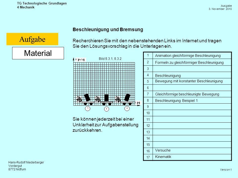 Hans-Rudolf Niederberger Vordergut 8772 Nidfurn Ausgabe 3. November 2010 TG Technologische Grundlagen 4 Mechanik Version 1 Material Beschleunigung und