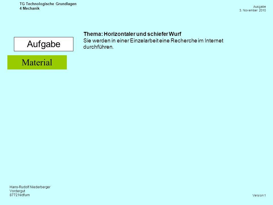 Hans-Rudolf Niederberger Vordergut 8772 Nidfurn Ausgabe 3. November 2010 TG Technologische Grundlagen 4 Mechanik Version 1 Aufgabe Thema: Horizontaler