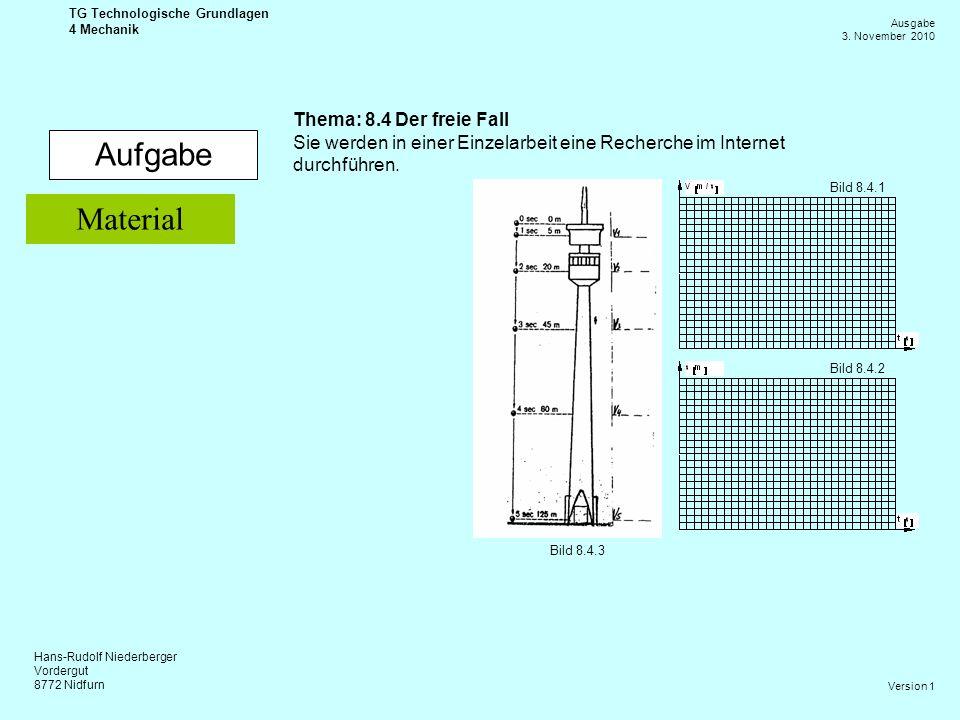 Hans-Rudolf Niederberger Vordergut 8772 Nidfurn Ausgabe 3. November 2010 TG Technologische Grundlagen 4 Mechanik Version 1 Aufgabe Thema: 8.4 Der frei