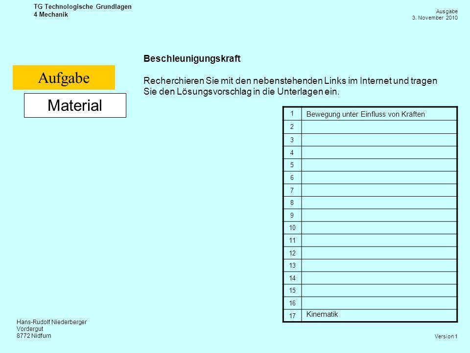 Hans-Rudolf Niederberger Vordergut 8772 Nidfurn Ausgabe 3. November 2010 TG Technologische Grundlagen 4 Mechanik Version 1 Material Beschleunigungskra