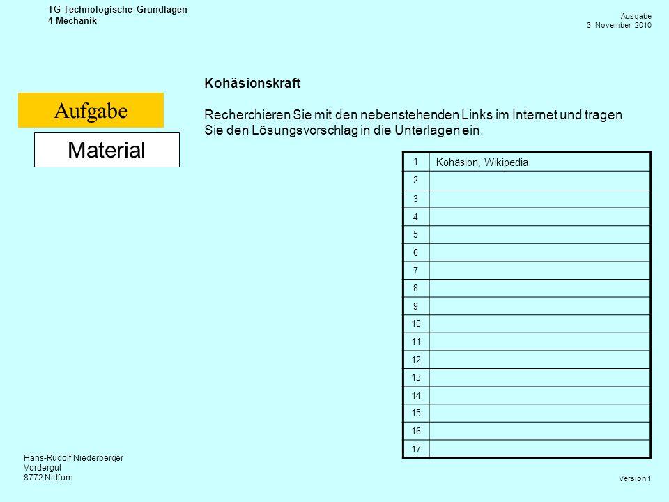 Hans-Rudolf Niederberger Vordergut 8772 Nidfurn Ausgabe 3. November 2010 TG Technologische Grundlagen 4 Mechanik Version 1 Material Kohäsionskraft Rec