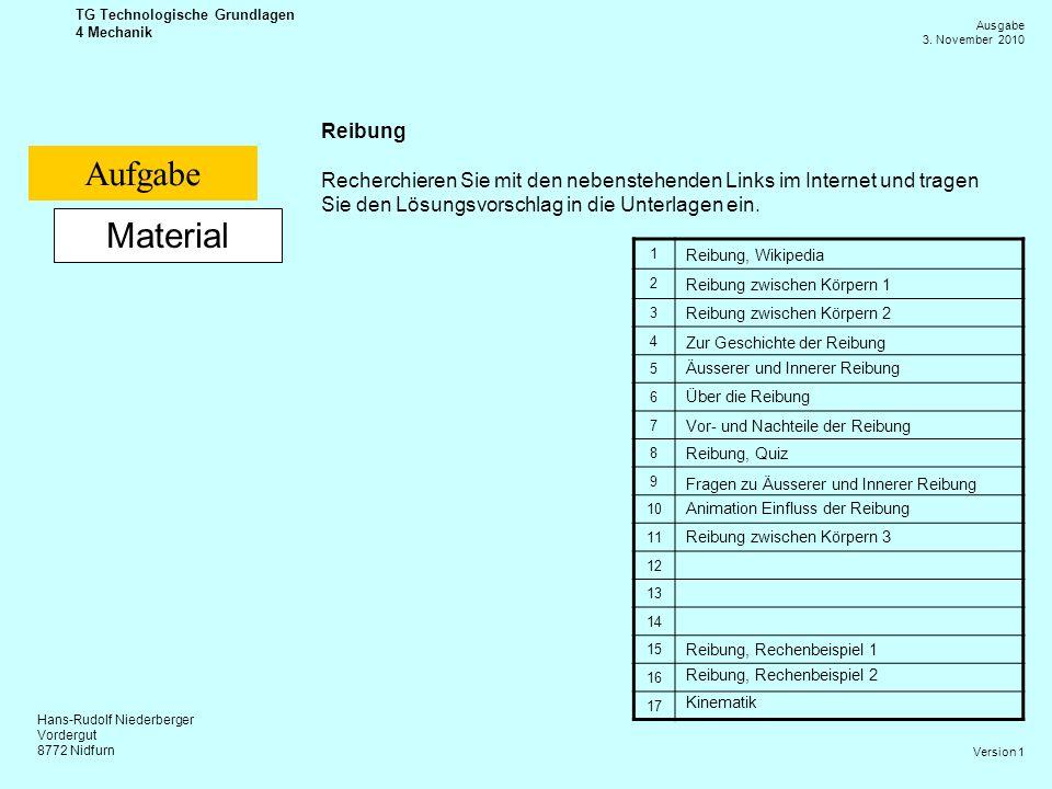 Hans-Rudolf Niederberger Vordergut 8772 Nidfurn Ausgabe 3. November 2010 TG Technologische Grundlagen 4 Mechanik Version 1 Material Reibung Recherchie