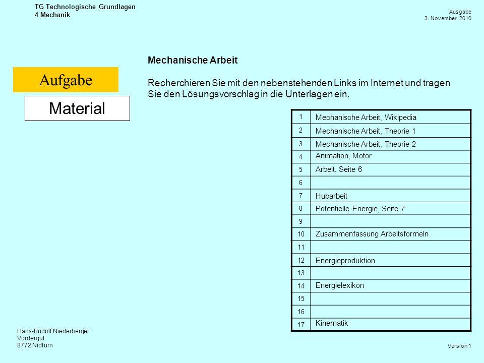 Hans-Rudolf Niederberger Vordergut 8772 Nidfurn Ausgabe 3. November 2010 TG Technologische Grundlagen 4 Mechanik Version 1 Material Mechanische Arbeit