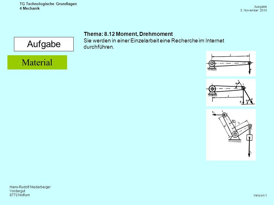 Hans-Rudolf Niederberger Vordergut 8772 Nidfurn Ausgabe 3. November 2010 TG Technologische Grundlagen 4 Mechanik Version 1 Aufgabe Thema: 8.12 Moment,