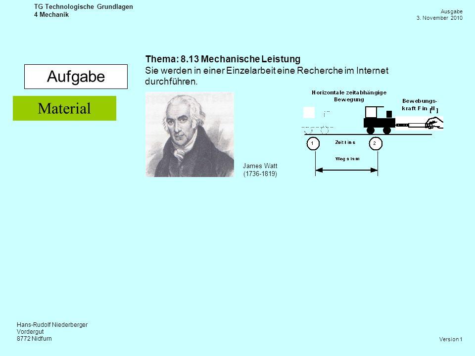 Hans-Rudolf Niederberger Vordergut 8772 Nidfurn Ausgabe 3. November 2010 TG Technologische Grundlagen 4 Mechanik Version 1 Aufgabe Thema: 8.13 Mechani