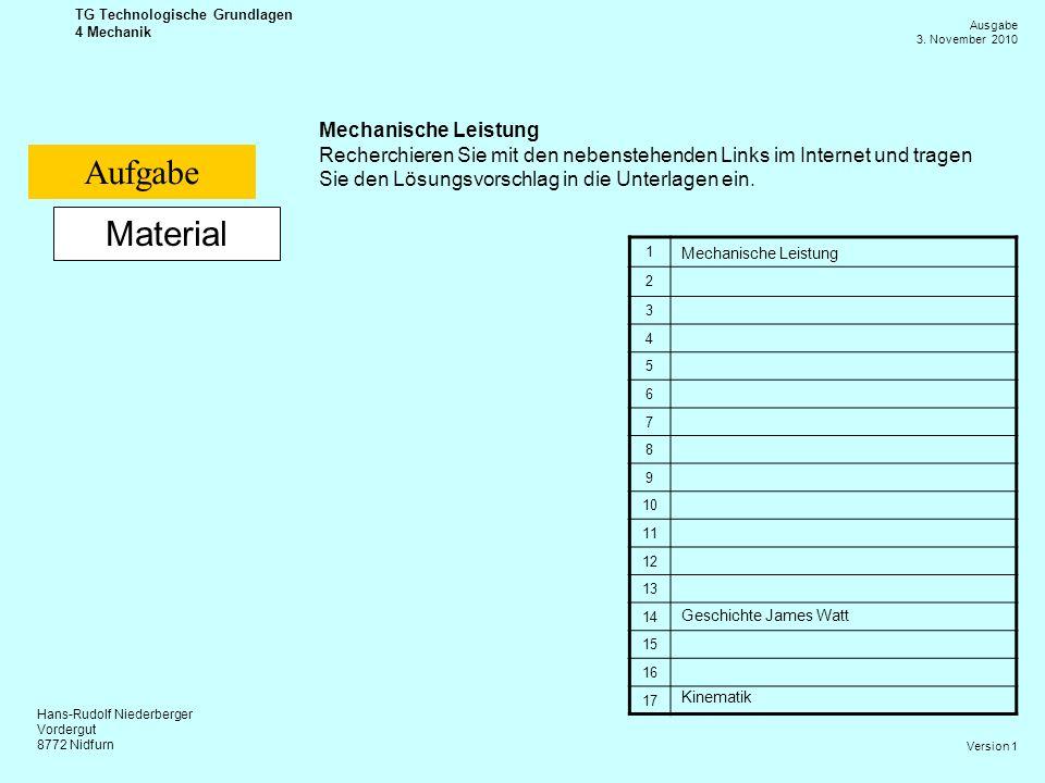 Hans-Rudolf Niederberger Vordergut 8772 Nidfurn Ausgabe 3. November 2010 TG Technologische Grundlagen 4 Mechanik Version 1 Material Mechanische Leistu