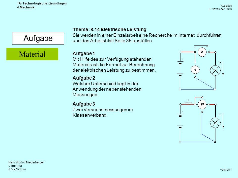 Hans-Rudolf Niederberger Vordergut 8772 Nidfurn Ausgabe 3. November 2010 TG Technologische Grundlagen 4 Mechanik Version 1 Aufgabe Thema: 8.14 Elektri