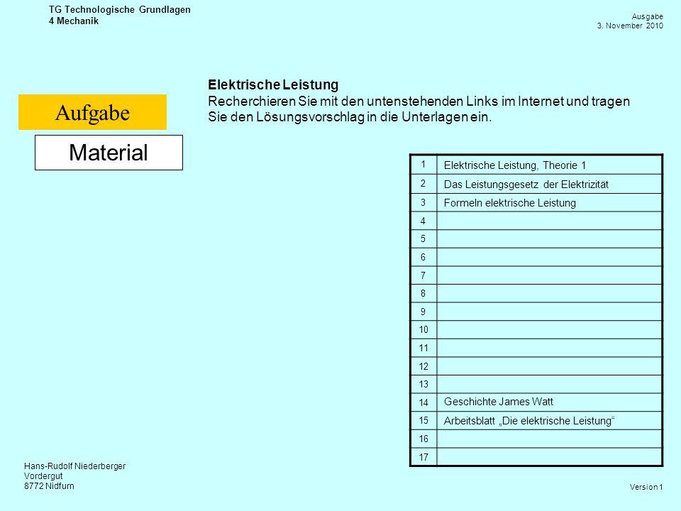 Hans-Rudolf Niederberger Vordergut 8772 Nidfurn Ausgabe 3. November 2010 TG Technologische Grundlagen 4 Mechanik Version 1 Material Elektrische Leistu