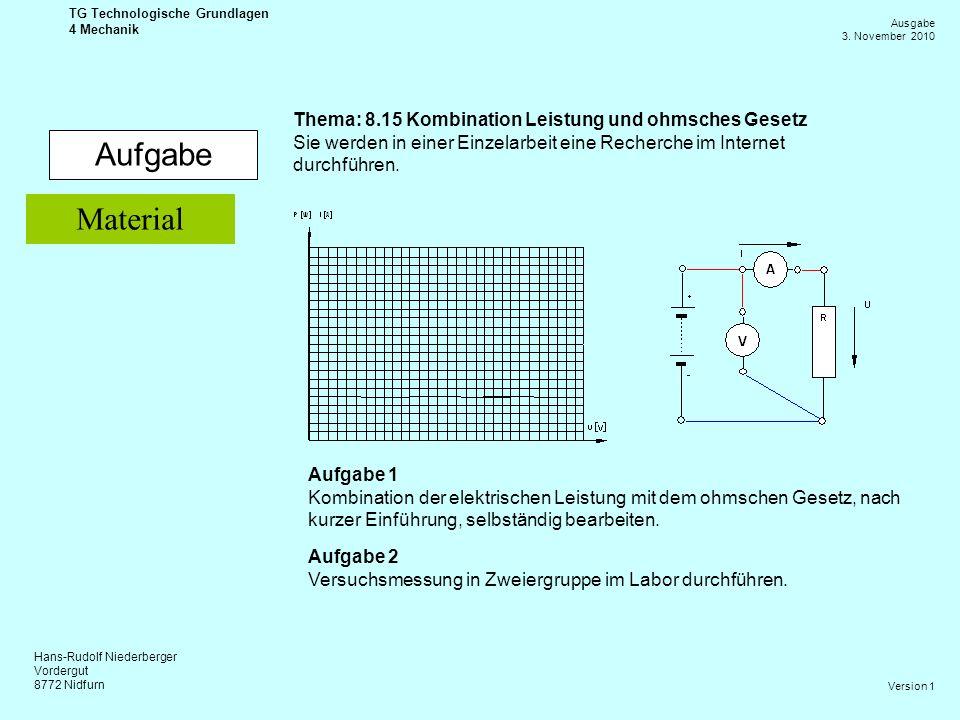 Hans-Rudolf Niederberger Vordergut 8772 Nidfurn Ausgabe 3. November 2010 TG Technologische Grundlagen 4 Mechanik Version 1 Aufgabe Thema: 8.15 Kombina