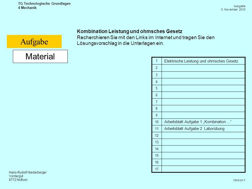 Hans-Rudolf Niederberger Vordergut 8772 Nidfurn Ausgabe 3. November 2010 TG Technologische Grundlagen 4 Mechanik Version 1 Material Kombination Leistu