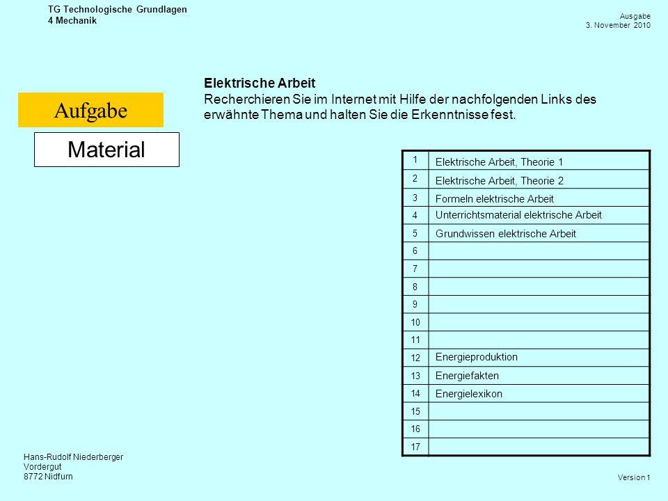 Hans-Rudolf Niederberger Vordergut 8772 Nidfurn Ausgabe 3. November 2010 TG Technologische Grundlagen 4 Mechanik Version 1 Material Elektrische Arbeit