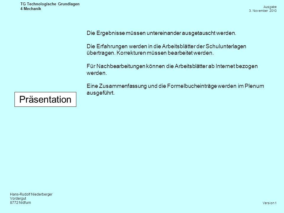 Hans-Rudolf Niederberger Vordergut 8772 Nidfurn Ausgabe 3. November 2010 TG Technologische Grundlagen 4 Mechanik Version 1 Präsentation Die Ergebnisse