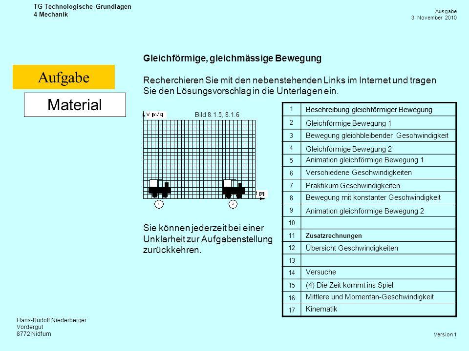 Hans-Rudolf Niederberger Vordergut 8772 Nidfurn Ausgabe 3. November 2010 TG Technologische Grundlagen 4 Mechanik Version 1 Material Gleichförmige, gle