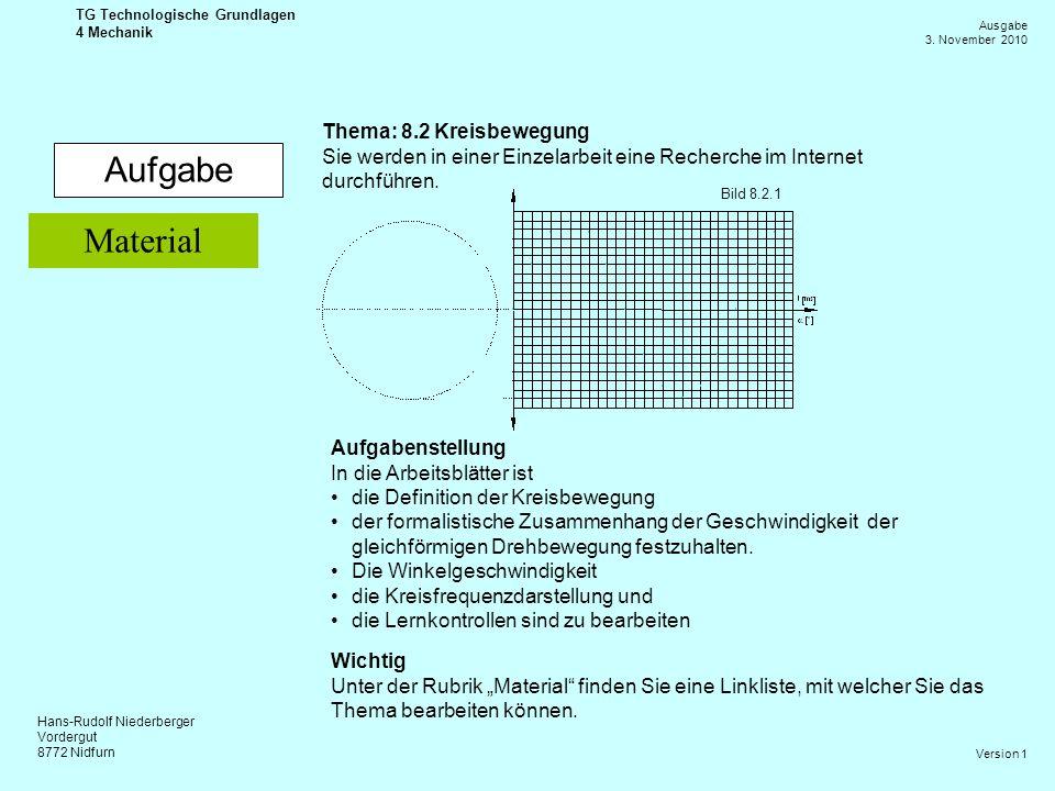 Hans-Rudolf Niederberger Vordergut 8772 Nidfurn Ausgabe 3. November 2010 TG Technologische Grundlagen 4 Mechanik Version 1 Aufgabe Thema: 8.2 Kreisbew