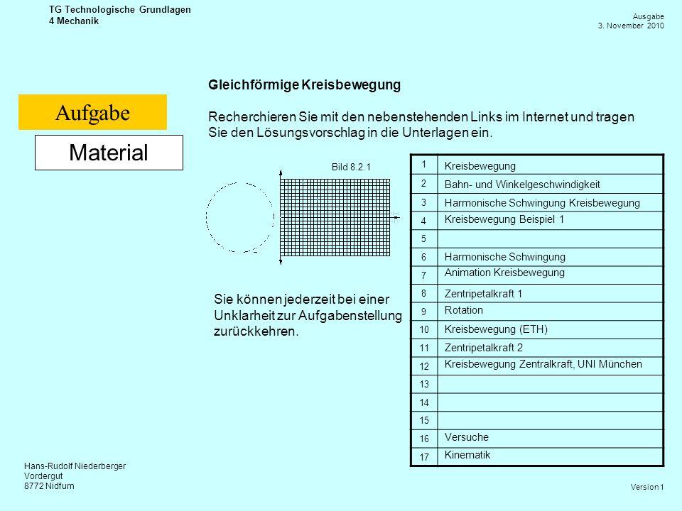 Hans-Rudolf Niederberger Vordergut 8772 Nidfurn Ausgabe 3. November 2010 TG Technologische Grundlagen 4 Mechanik Version 1 Material Gleichförmige Krei