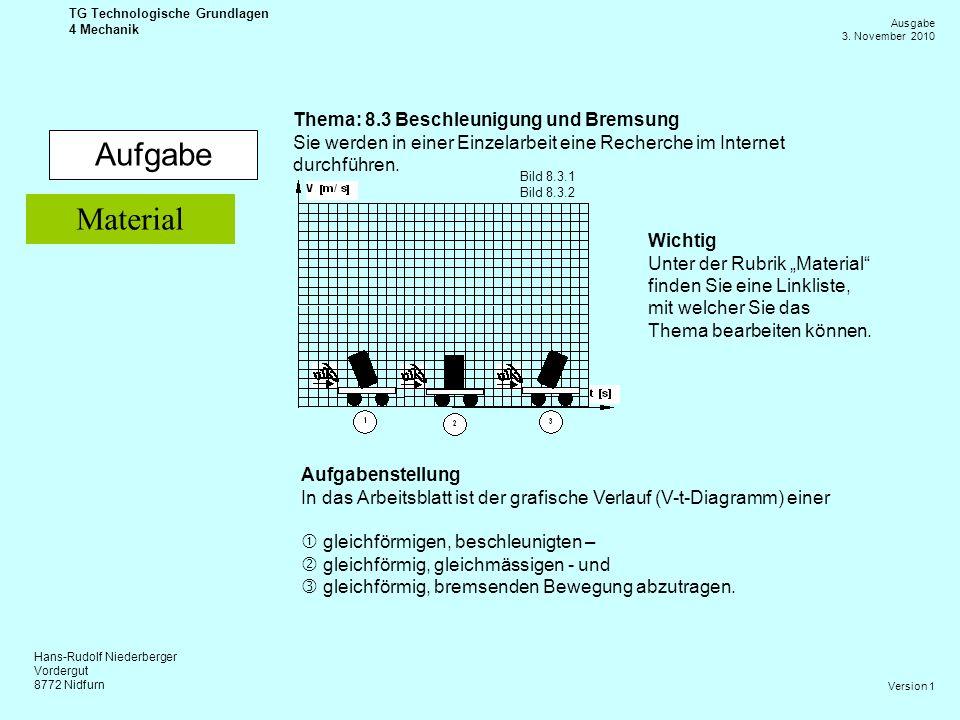 Hans-Rudolf Niederberger Vordergut 8772 Nidfurn Ausgabe 3. November 2010 TG Technologische Grundlagen 4 Mechanik Version 1 Aufgabe Thema: 8.3 Beschleu