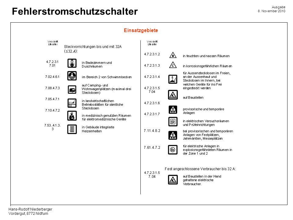 Hans-Rudolf Niederberger Vordergut, 8772 Nidfurn Ausgabe 8. November 2010 Fehlerstromschutzschalter Einsatzgebiete