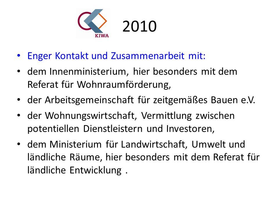 2010 Enger Kontakt und Zusammenarbeit mit: dem Innenministerium, hier besonders mit dem Referat für Wohnraumförderung, der Arbeitsgemeinschaft für zeitgemäßes Bauen e.V.