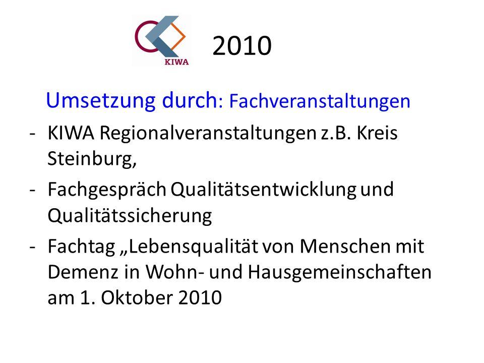 2010 Umsetzung durch : Fachveranstaltungen -KIWA Regionalveranstaltungen z.B.