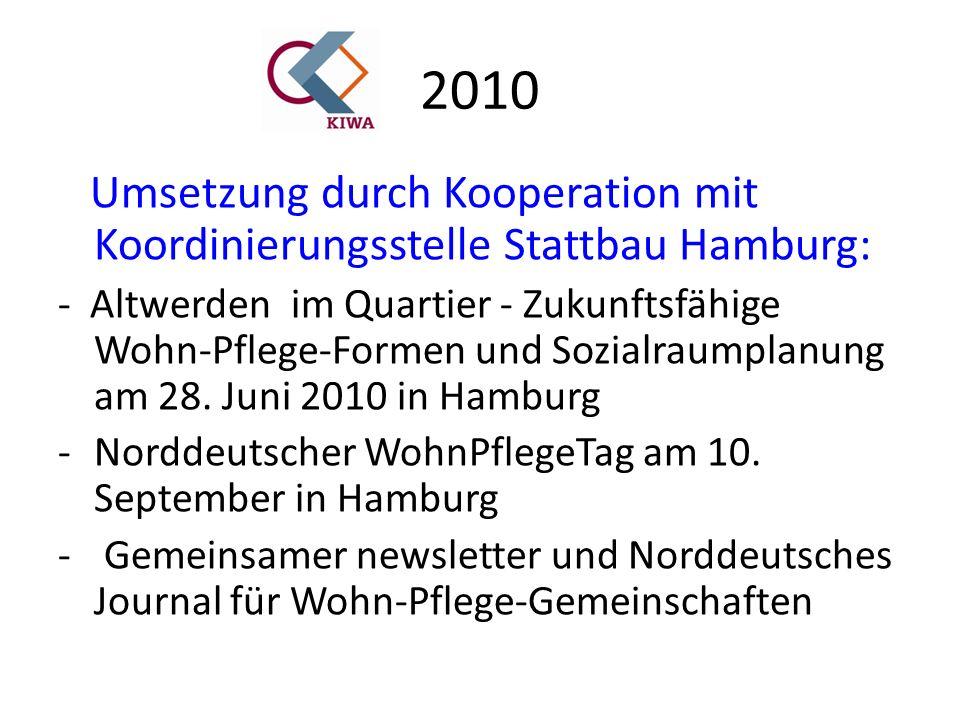 2010 Umsetzung durch Kooperation mit Koordinierungsstelle Stattbau Hamburg: - Altwerden im Quartier - Zukunftsfähige Wohn-Pflege-Formen und Sozialraumplanung am 28.
