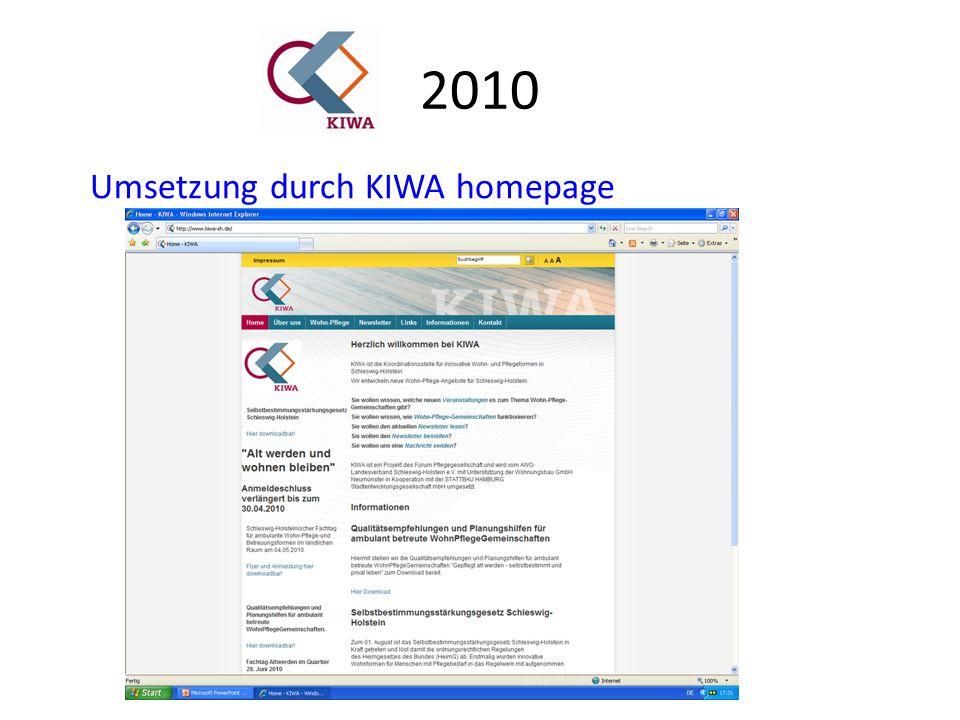 2010 Umsetzung durch KIWA homepage