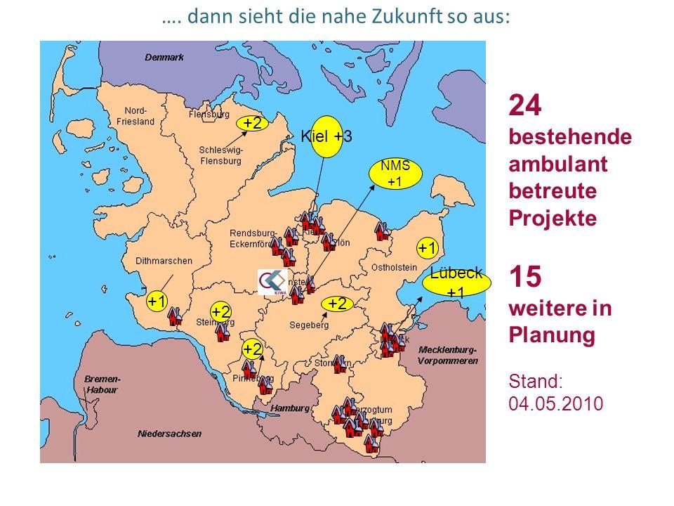 …. dann sieht die nahe Zukunft so aus: 24 bestehende ambulant betreute Projekte 15 weitere in Planung Stand: 04.05.2010 +2 Kiel +3 +1 +2 NMS +1 Lübeck