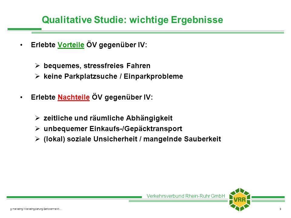 Verkehrsverbund Rhein-Ruhr GmbH g:marketing/\Marketingplanung\Seniorenmarkt\...9 Qualitative Studie: wichtige Ergebnisse Erlebte Vorteile ÖV gegenüber