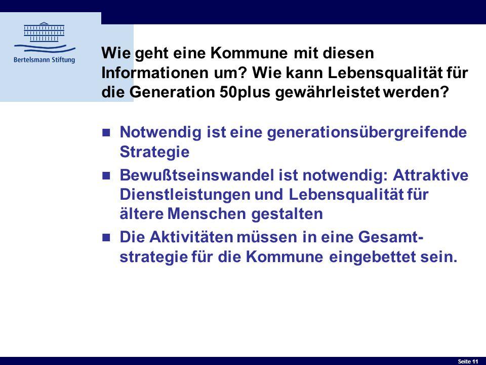 Seite 11 Wie geht eine Kommune mit diesen Informationen um? Wie kann Lebensqualität für die Generation 50plus gewährleistet werden? Notwendig ist eine