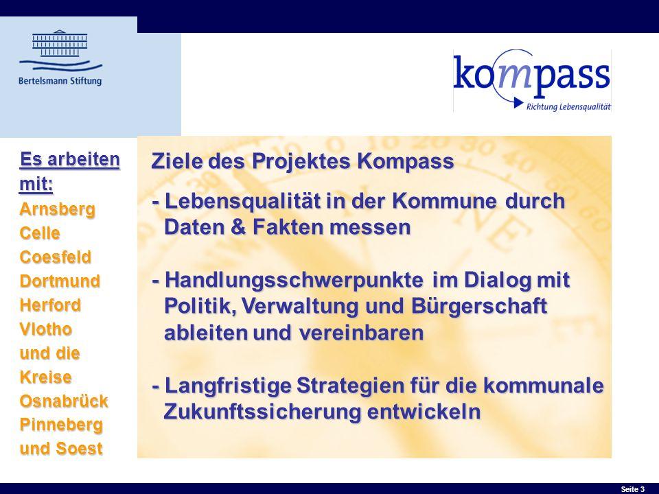 Seite 3 Ziele des Projektes Kompass - Lebensqualität in der Kommune durch Daten & Fakten messen - Handlungsschwerpunkte im Dialog mit Politik, Verwalt