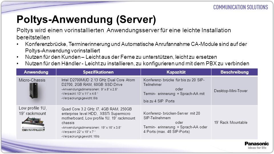 23 Poltys-Anwendung (Server) Poltys wird einen vorinstallierten Anwendungsserver für eine leichte Installation bereitstellen Konferenzbrücke, Terminerinnerung und Automatische Anrufannahme CA-Module sind auf der Poltys-Anwendung vorinstalliert Nutzen für den Kunden – Leicht aus der Ferne zu unterstützen, leicht zu ersetzen Nutzen für den Händler - Leicht zu installieren, zu konfigurieren und mit dem PBX zu verbinden AnwendungSpezifikationenKapazitätBeschreibung Micro-Chassis Intel D2700MUD 2.13 GHz Dual Core Atom D2700, 2GB RAM, 60GB SSD Drive Anwendungsdimensionen: 9 x 8 x 2.5 Verpackt: 13 x 11 x 4.5 Verpackungsgewicht: 6lb Konferenz- brücke für bis zu 20 SIP- Teilnehmer oder Termin- erinnerung + Sprach-AA mit bis zu 4 SIP Ports Desktop-Mini-Tower Low profile 1U, 19 rackmount Quad Core 3.2 GHz I7, 4GB RAM, 250GB enterprise level HDD, X8STi Supermicro motherboard, Low profile 1U, 19 rackmount chassis Anwendungsdimensionen: 19 x 15 x 3.5 Verpackt: 22 x 19 x 7 Verpackungsgewicht: 16lb Konferenz- brücken-Server mit 20 SIP-Teilnehmern oder Termin- erinnerung + Sprach-AA oder 4 Ports (max.