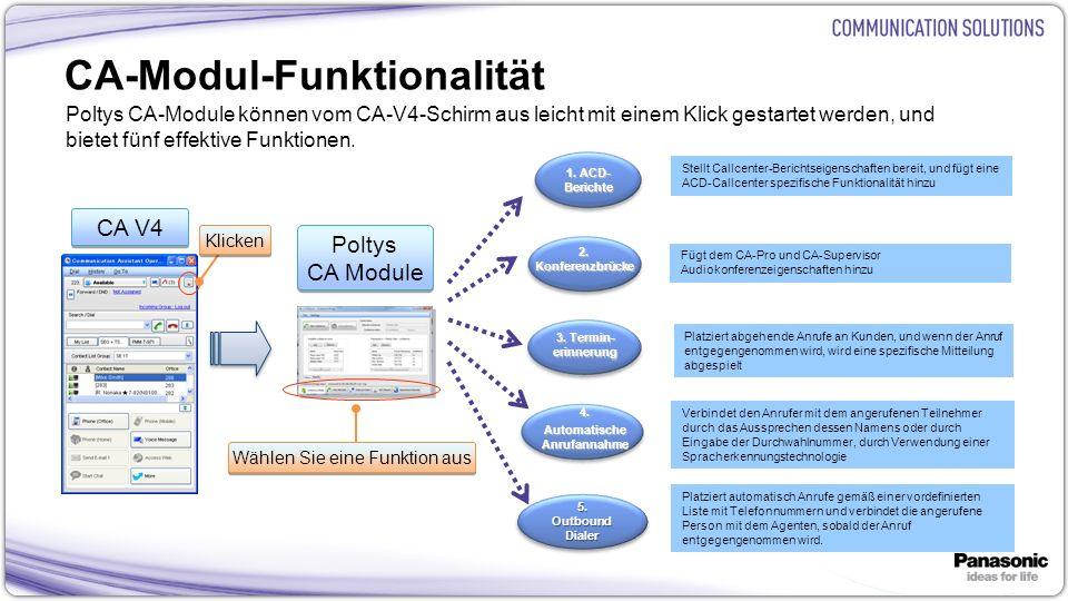 8 CA-Modul-Funktionalität Poltys CA-Module können vom CA-V4-Schirm aus leicht mit einem Klick gestartet werden, und bietet fünf effektive Funktionen.