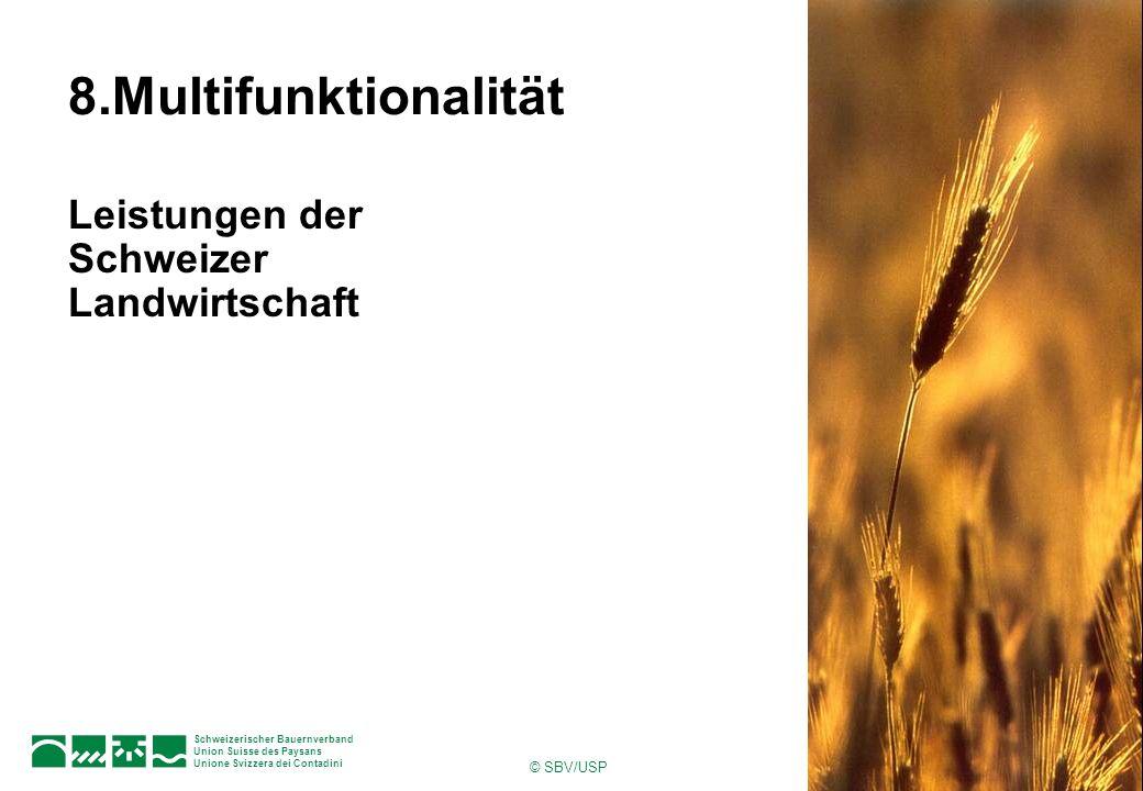 © SBV/USP 1Seite Schweizerischer Bauernverband Union Suisse des Paysans Unione Svizzera dei Contadini 8.Multifunktionalität Leistungen der Schweizer L