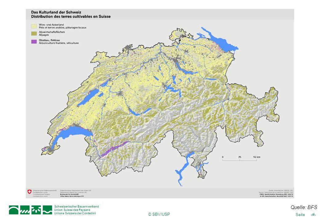 © SBV/USP 22Seite Schweizerischer Bauernverband Union Suisse des Paysans Unione Svizzera dei Contadini Quelle: BFS