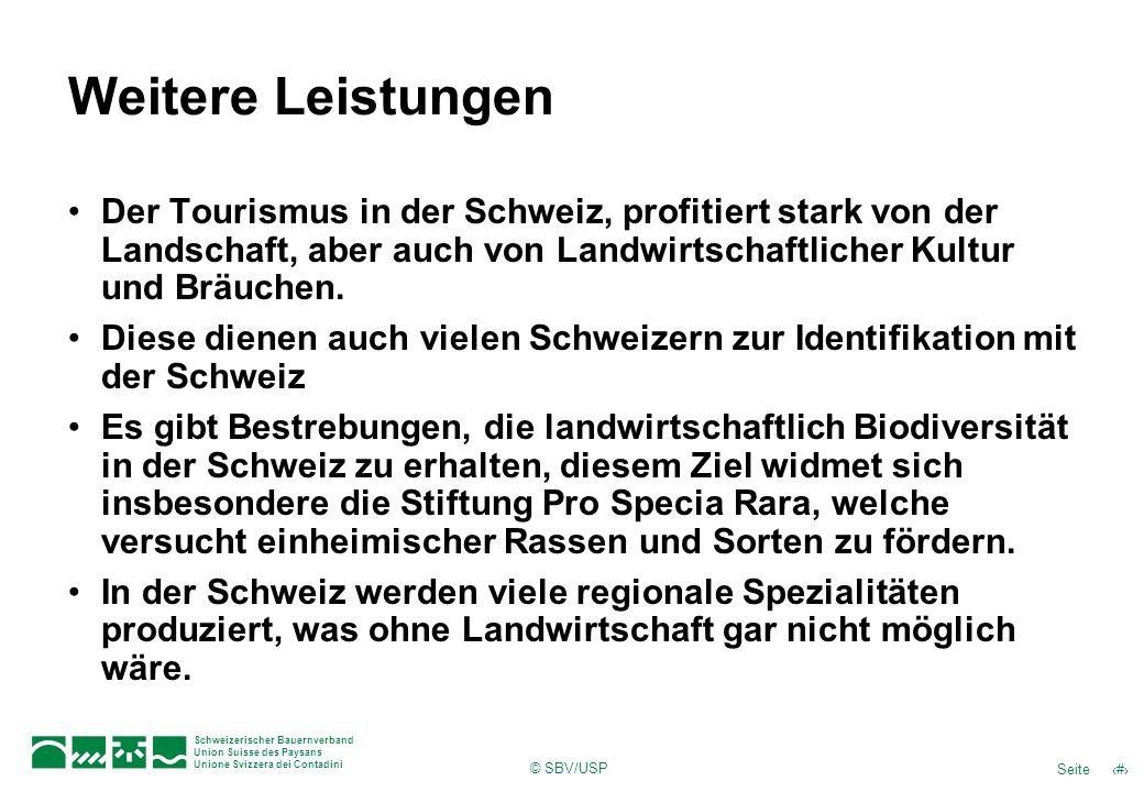 © SBV/USP 52Seite Schweizerischer Bauernverband Union Suisse des Paysans Unione Svizzera dei Contadini Weitere Leistungen Der Tourismus in der Schweiz