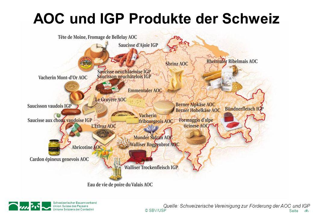 © SBV/USP 53Seite Schweizerischer Bauernverband Union Suisse des Paysans Unione Svizzera dei Contadini AOC und IGP Produkte der Schweiz Quelle: Schwei