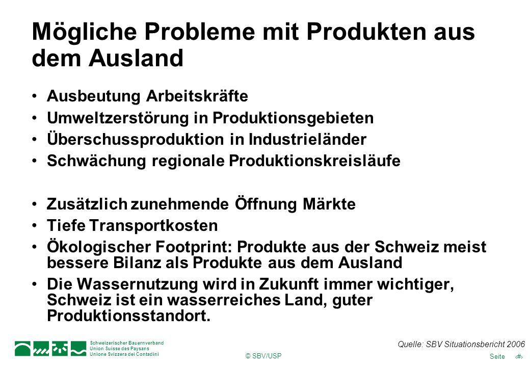 © SBV/USP 54Seite Schweizerischer Bauernverband Union Suisse des Paysans Unione Svizzera dei Contadini Mögliche Probleme mit Produkten aus dem Ausland