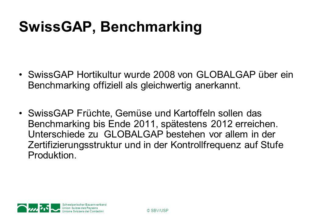 Schweizerischer Bauernverband Union Suisse des Paysans Unione Svizzera dei Contadini © SBV/USP SwissGAP, Benchmarking SwissGAP Hortikultur wurde 2008 von GLOBALGAP über ein Benchmarking offiziell als gleichwertig anerkannt.