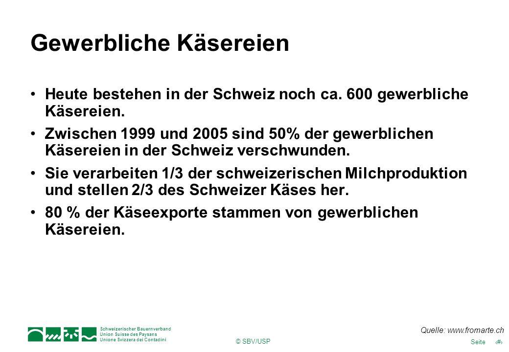 12Seite Schweizerischer Bauernverband Union Suisse des Paysans Unione Svizzera dei Contadini © SBV/USP Gewerbliche Käsereien Heute bestehen in der Sch
